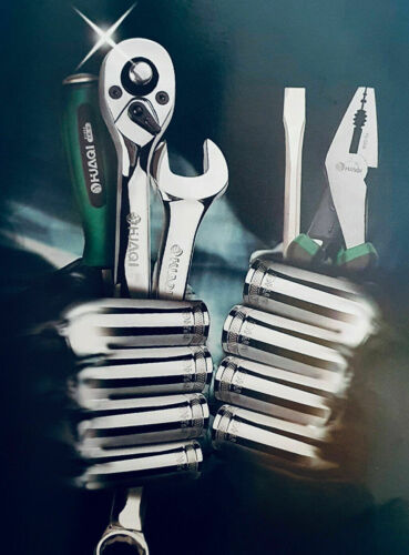 "HUAQI Heavy Duty 3//8/"" Quick Release Reversible Ratchet Socket Wrench Mechanic UK"