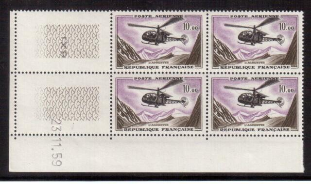 FRANCE 1960 MINT NH DATED L.L. CORNER BLOCK #C40, ALOUETTE HELICOPTER !!  H70