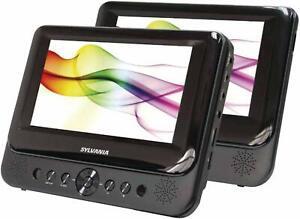 Sylvania-SDVD8739-7-034-Portable-Dual-Screen-DVD-Player-w-Vehicle-Headrest-Mount
