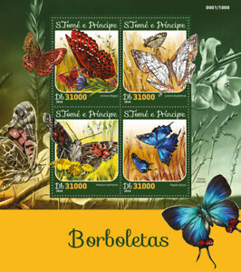 Sao-Tome-amp-Principe-2016-MNH-Butterflies-Butterfly-4v-M-S-Insects-Stamps
