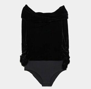 ZARA-WOMAN-NWT-SALE-BLACK-OFF-THE-SHOULDER-VELVET-BODYSUIT-REF-0387-200-800