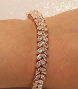 Details About 14k Rose Gold Filled Marquise Diamond Bracelet 1 5ct For Women Engagement