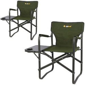 2-x-OZTRAIL-DIRECTORS-CLASSIC-WITH-SIDE-TABLE-CAMPING-Portable-CHAIR-Picnic
