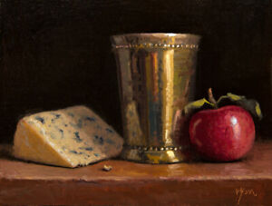 Still-Life-w-Apple-Bleu-Cheese-amp-Silver-Cup-Live-Demo-Painting-by-Abbey-Ryan