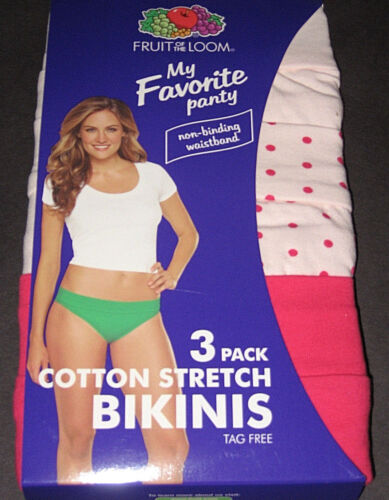 3 FRUIT OF THE LOOM Womens Underwear Size 5 Cotton Stretch BIKINIS