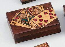 PLAYING CARD BOX  Royal Flush Design, Handmade  Linden Wood Keepsake, Poland