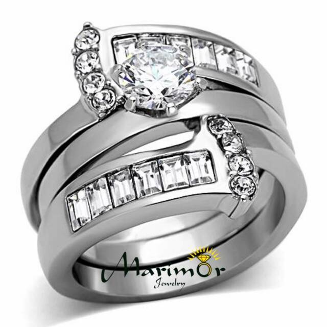 Women's Round Cut Silver Stainless Steel AAA CZ Wedding Ring Band Set Size 5-10