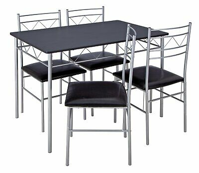 Argos Home Vegas MDF Dining Table and 2 Chairs Steel Frame Black