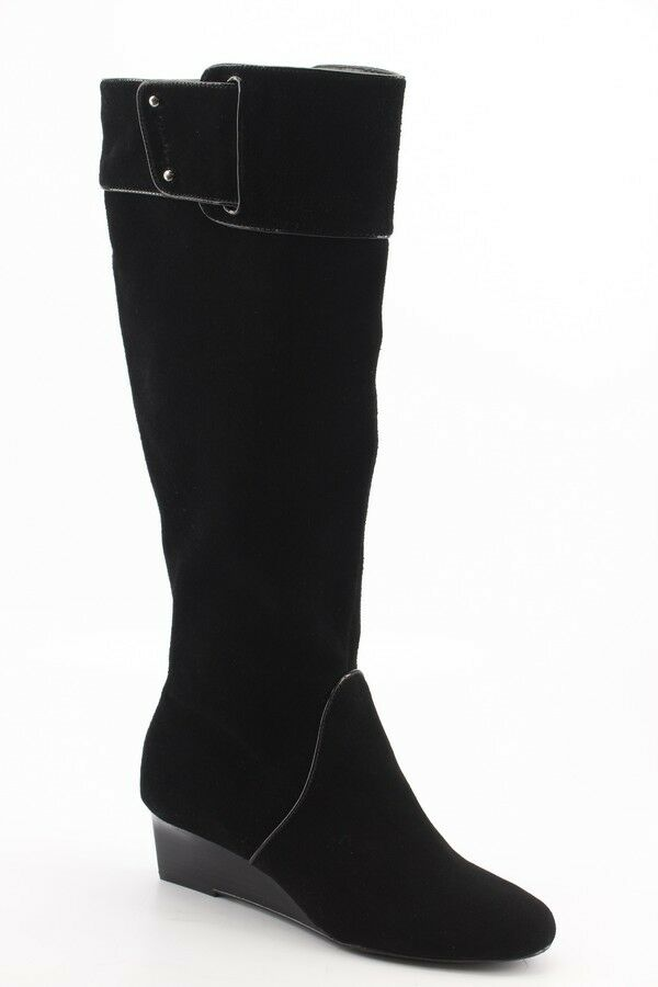 240 NEW Calvin Klein Helenah Black Suede Tall Wedge Boots size 7 M