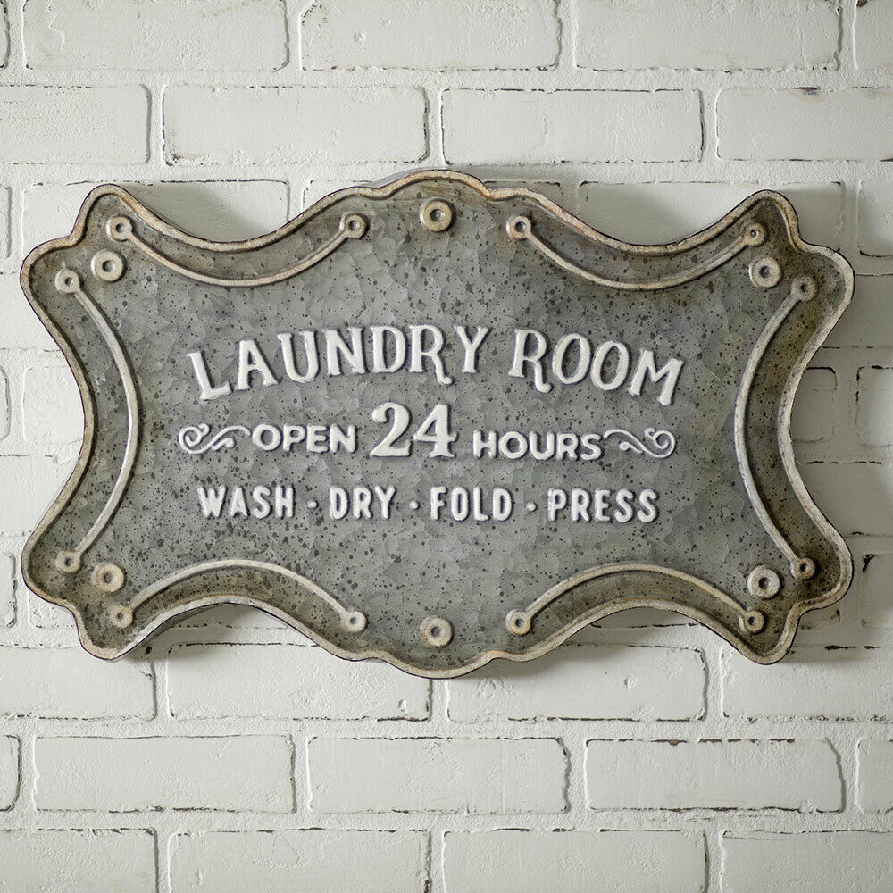 Laundry Room Metal Sign 24  x 14.5  Distressed Rustic Primitive Wall Plaque Gift