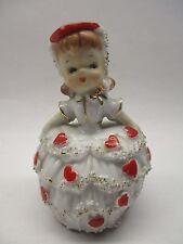 Vintage Lefton Valentine Bell Girl Tart Heart Hat Figurine W/Foil Tag