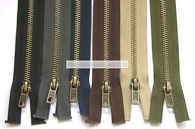 Metal Brass Teeth Open End Zipper Choice of Colours and Lengths