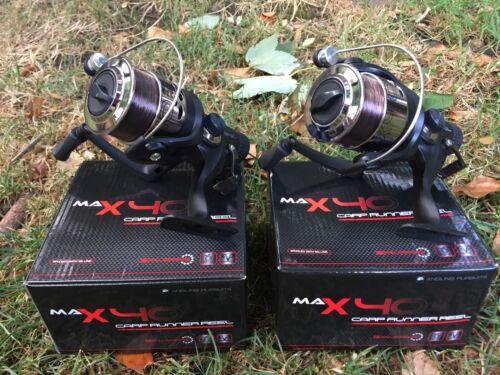 NGT Tackle 2 x Max 40 2 BB Carp Runner Pêche Moulinets Chargé Avec Ligne 8 lb environ 3.63 kg