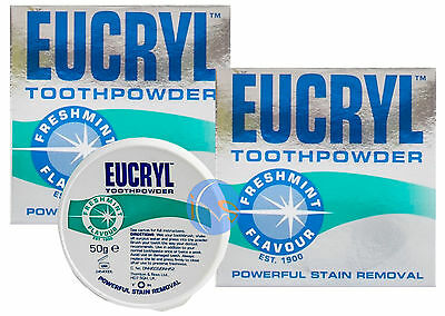 2 x EUCRYL FRESHMINT STAIN REMOVING 50G TOOTHPOWDER GREAT VALUE!!