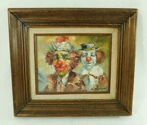 Vintage-Signed-Moninet-16-034-X-14-034-CLOWNS-Oil-Painting-on-Canvas-Wood-Frame
