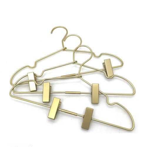 "30P16.5/"" Gold Aluminum Top Wire Hangers Coat Clothes Clips Hanger Pants Rack"