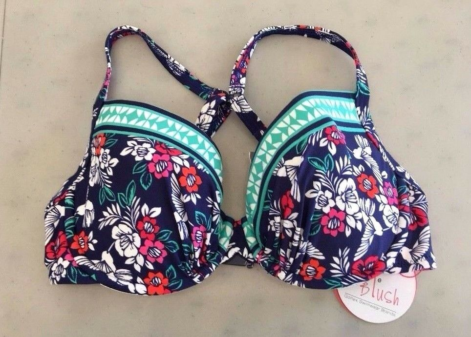NEW  PROFILE blueSH Gottex Z608-163T 'Hummingbird' U W Bra Bikini Top, S - D Cup