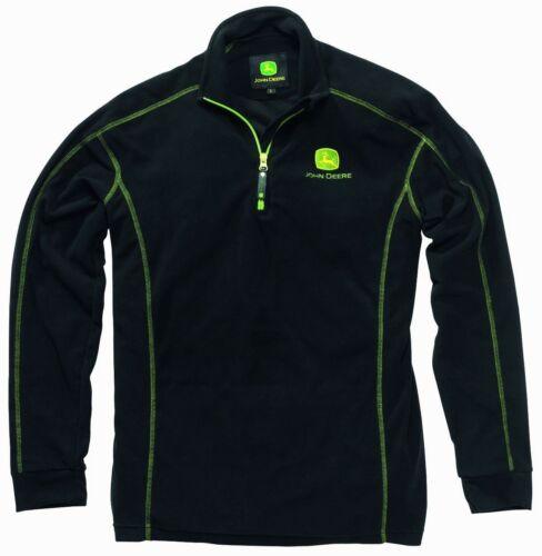 John Deere Black Fleece Pullover with Zip