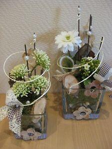 Tischdeko Floristik Tischgesteck Glas Creme Grun Geschenk 2er Set