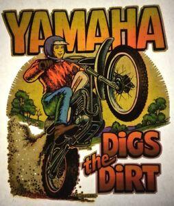 Yamaha Digs The Dirt Motorcross Authentic retro tshirt transfer print new NOS