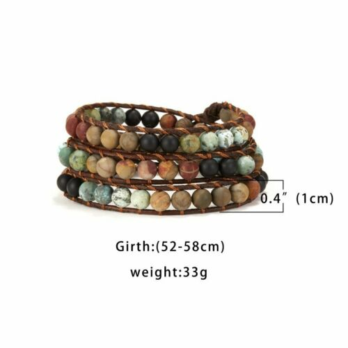 Fashion pierre naturelle en cuir Wrap Bracelets fait main Vintage tissage Noeud Cadeaux