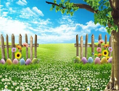 CSFOTO Easter Backdrop 7x5ft Easter Photography Backdground Easter Painted Eggs Spring Scenery Green Grassland Blue Sky SunKids Newborn Portrait Photo Backdrop Studio Props Polyester