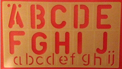 50 mm Alphabet Stencil écriture par Caractères Iconographiques Kit Upper /& Lower Case 12 Marqueur permanent