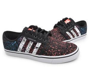 NEW Adidas Seeley Men's Shoes Paint Splatter Skateboarding Black RARE C76309