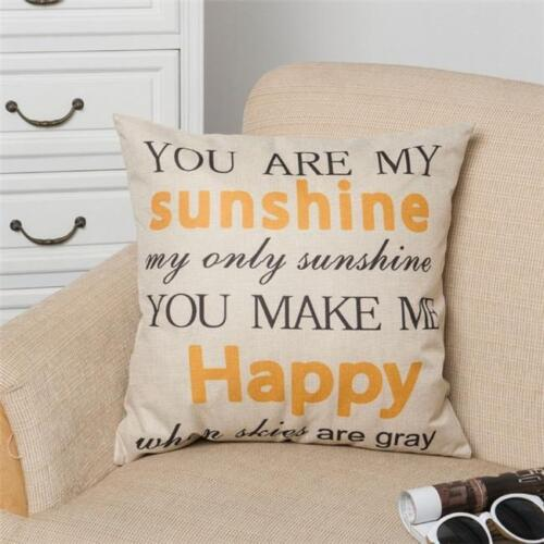Letters Quote Pillowcase Cotton Linen Sofa Waist Cushion Cover Home Decor QK
