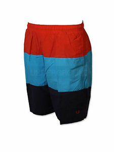 Fred-Perry-Badehose-Beachshort-Swimshort-Rot-Blau-Navy-S7327-943-5725