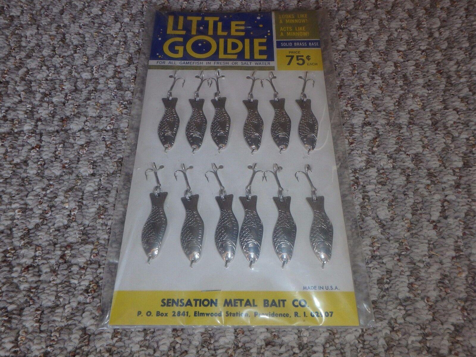 Vintage Lure  Display Card Little goldie Fishing Lures Sensation Metal Bait Co. N  hot sale