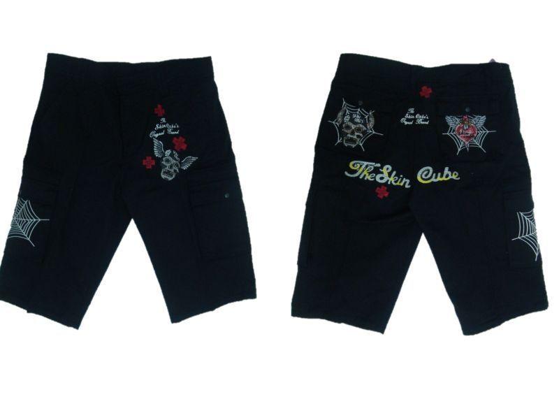 Kurze Hosen Shorts Shorts Schwarze Cargo Stoff Baumwolle Patch Biker Tag 50