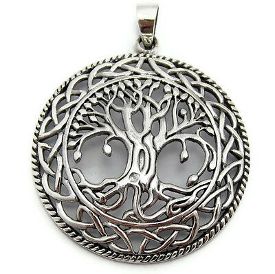 Large Tree of Life Pendant 925 Sterling Silver Irish Celtic Knots Mother Earth