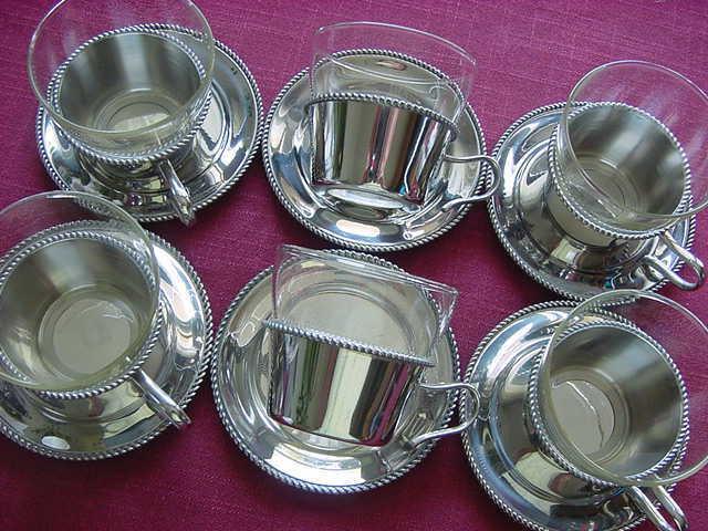 WMF Beaded Edge 6 Tea Glasses+ Saucer+ Tea Glass Holder Cromargan
