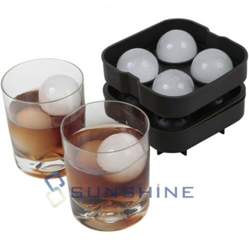 "2/"" Large Round Silicone Ice Cube Ball Maker Tray Sphere Molds Bar Whiskey+Funnel"