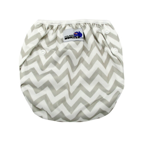 Reusable Modern Cloth Swim Nappy Baby to Toddler Grey Chevron Eco Washable