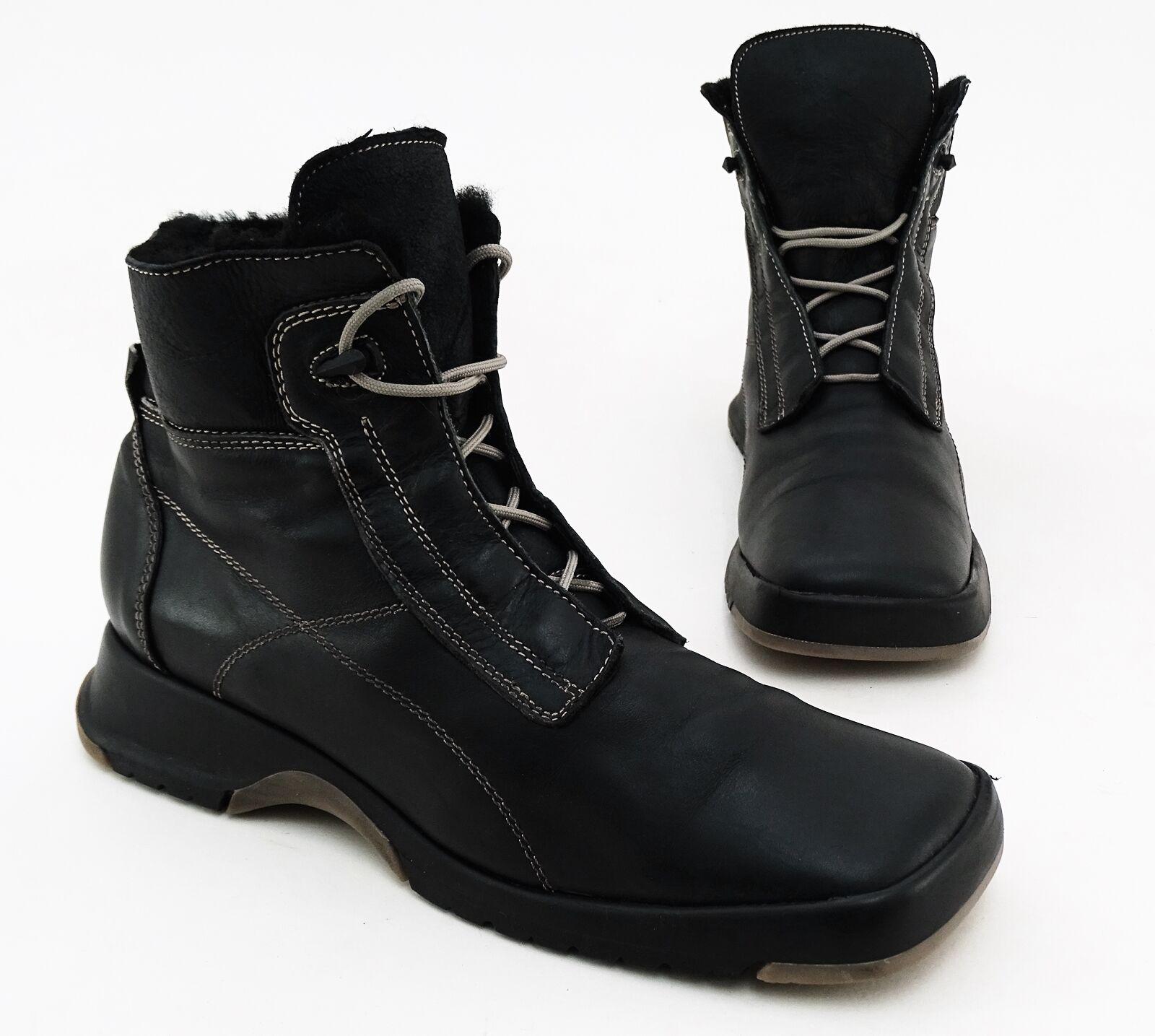 Bottines mais bottes Hiver Véritable Cuir Lacets Plat Noir Taille 42