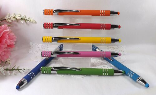 7 Pak 2 in 1 Colorful Soft Touch Ballpoint Pens With Stylus Tip