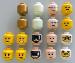 LEGO-Heads-Lot-of-18-Brand-New-Lego-minifigure-heads-Glow-In-The-Dark