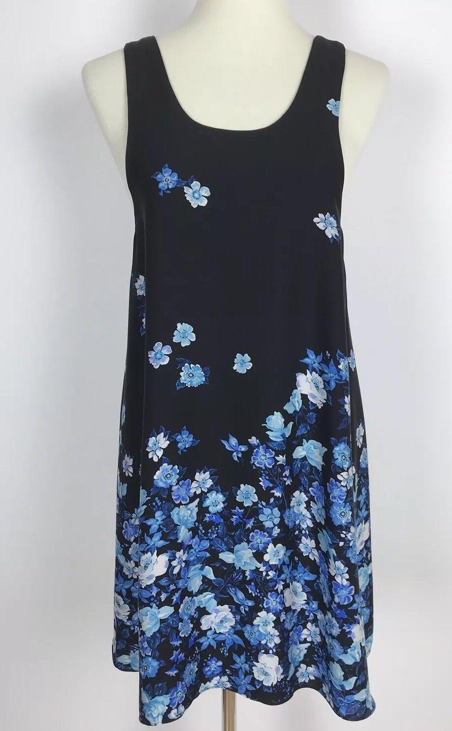 Alice + Olivia schwarz Silk Shift Dress Blau Floral Print Sleeveless damen's XS