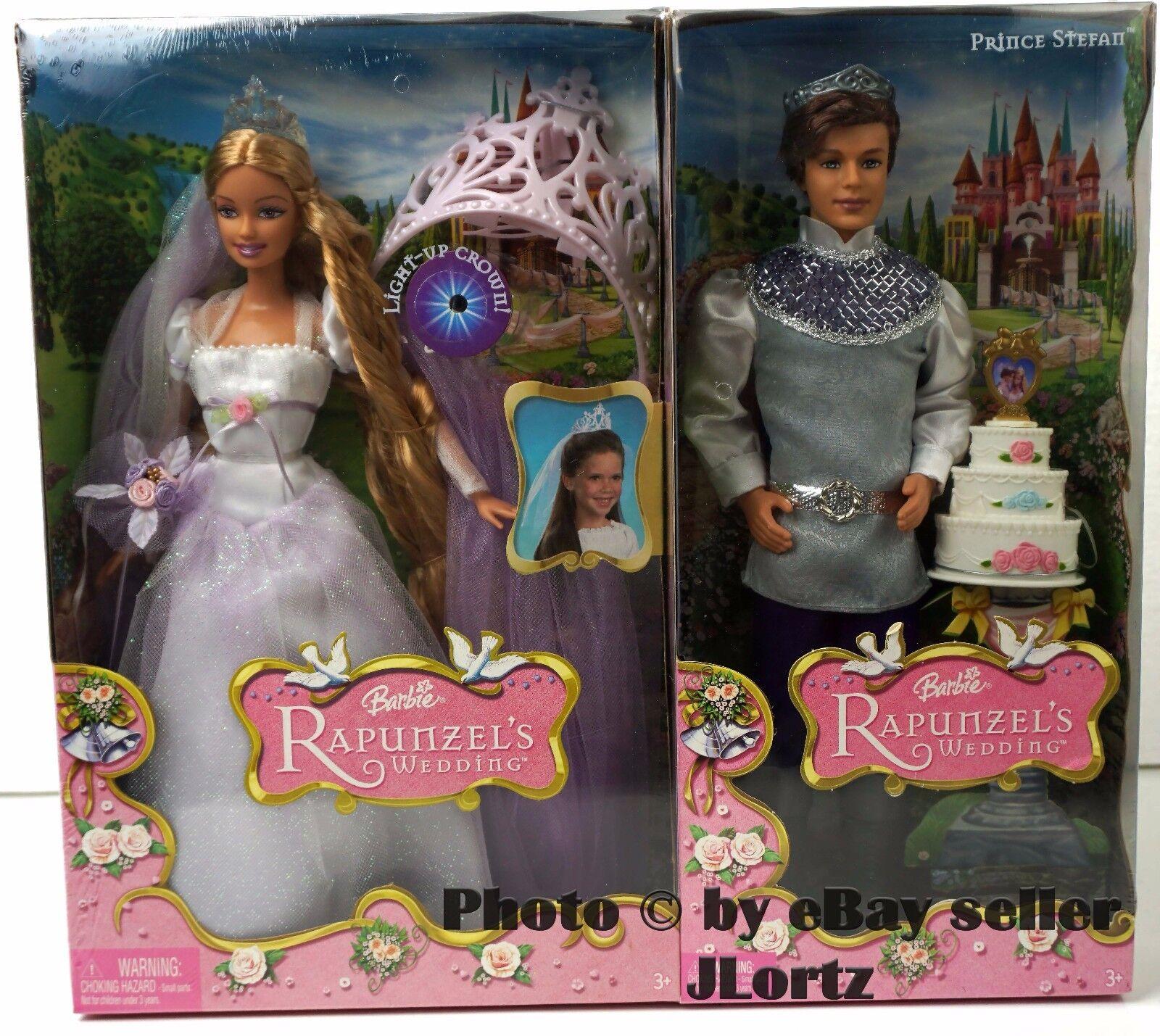 Barbie Rapunzel de boda con el príncipe Stefan y Barbie-pastel y corona de niños