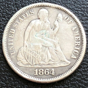 1864 S Seated Liberty Dime 10c High Grade XF  Details #31186