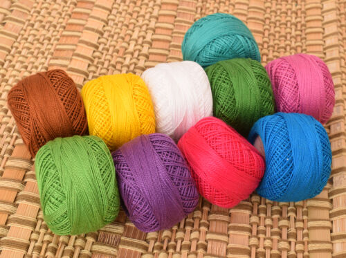 Set of 10 pcs Cotton Thread Yarn Skein Multi-Color Fabric Sewing Knitting Ball