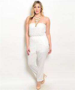 Details About Womens Plus Size Ivory Strapless Jumpsuit With Lace Bodice 3xl Nwt