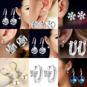 925-Sterling-Silver-Stud-Round-Earrings-Wedding-Jewelry-Womens-Girls-Gift-New