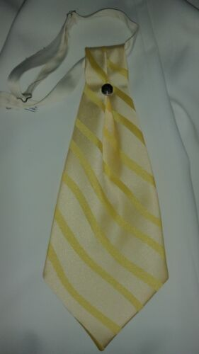 Mens Yellow Striped Satin Ascot Cravat Victorian Dickens Wedding  RARE