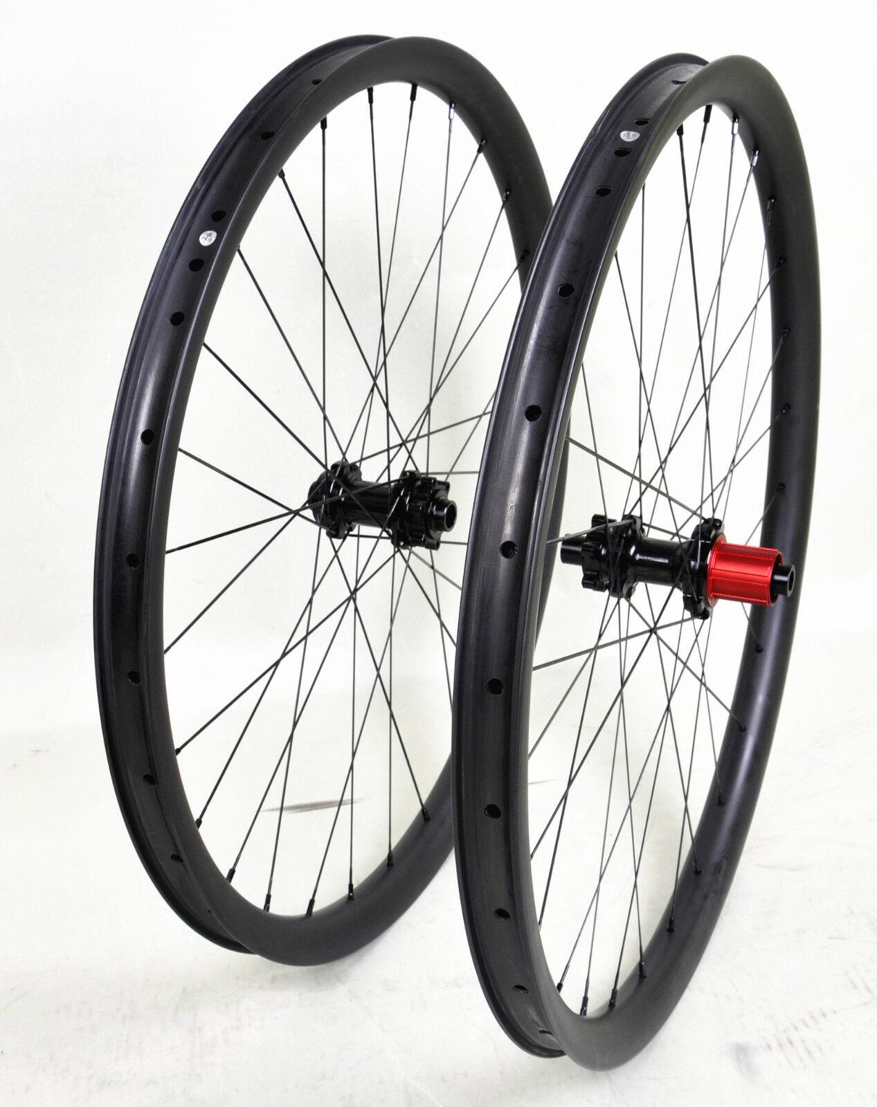 27.5  Carbon MTB Wheel QR 35mm Clincher Beadless Thru Axle UD Matt Rims Mountain