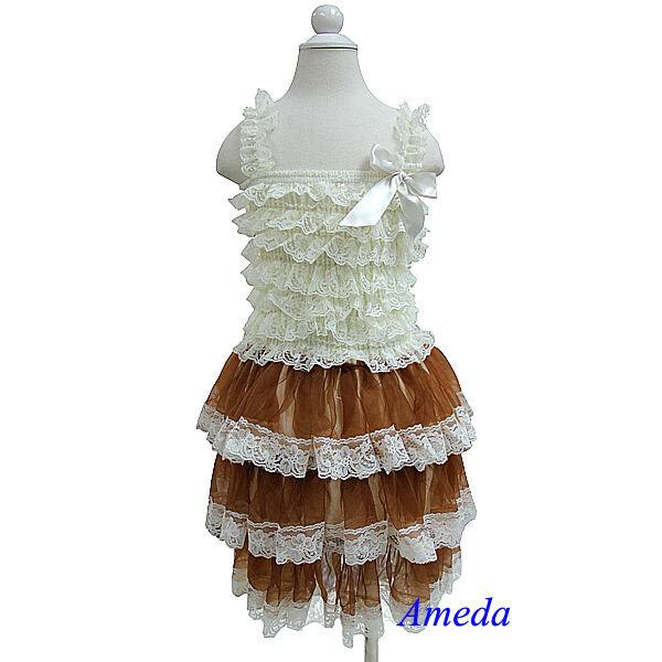 Flower Girls Gorgeous Cream Brown Lace Party Dress Pettidress Wedding Pettiskirt