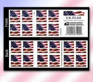 Details about 20 Forever Stamps US Postage American Old Glory Flag USPS  Booklet Stars Stripes