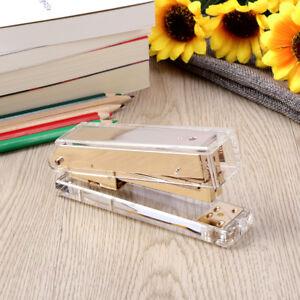 Image Is Loading Acrylic Clear Desktop Stapler Gold Modern Design Office